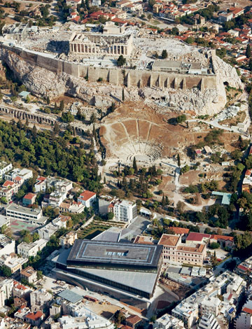 The Acropolis Museum beneath the Parthenon