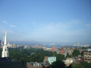 Rooftops of Boston withBoston Commons. Charles River in background