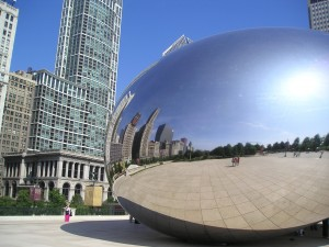 "Millennium Park with skyscrapers reflected in ""Bean"""