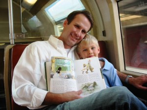Tommy and his Dad read the book on way to Giverny