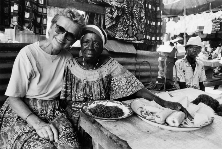 Bonnie Black and friend in market. Photo by Martha Cooper