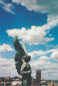 Angel on top of Chapel of Bons Secours, Montreal