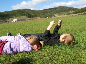 Mrkopalj, Croatia: Sam and Zadie in meadow