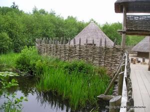 Recreated Iron Age artificial island settlement, Crannog