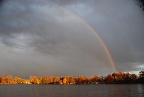 Rainbow on Clifford Lake where Jessie Voigts now lives.
