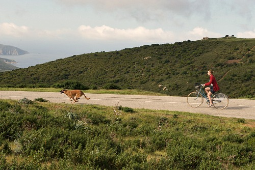 Helene rides her bicycle across Corsica