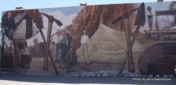 Mural  at Twenty-Nine Palms, CA of historic mining camp