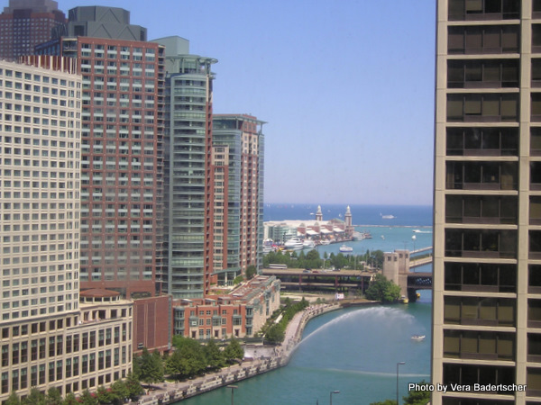 View of Chicago River and lake from Westin Hotel