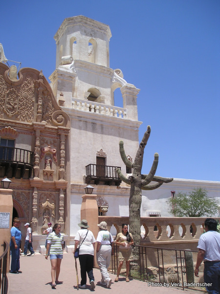 Tourists throng Mission San Xavier del Bac