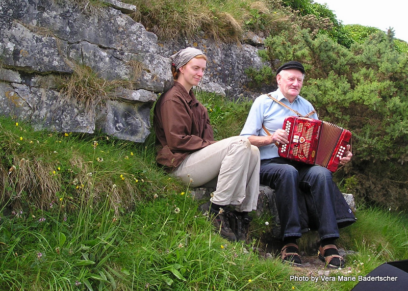 Real Irish music on the path to Ring Fort, Aran Islands