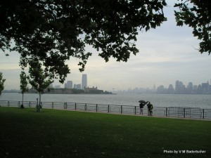 New York Skyline from Liberty Island on a rainy day