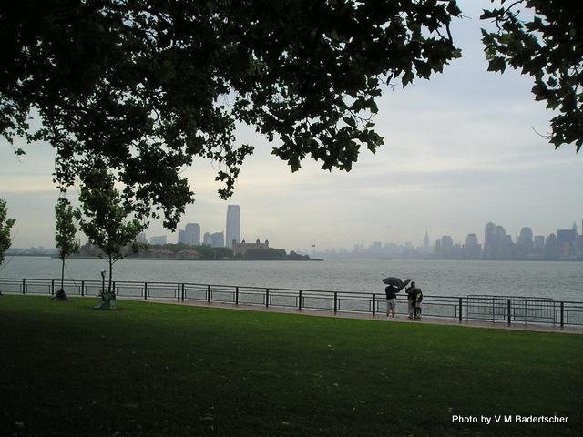New York Skyline from Liberty Island on a rainy day