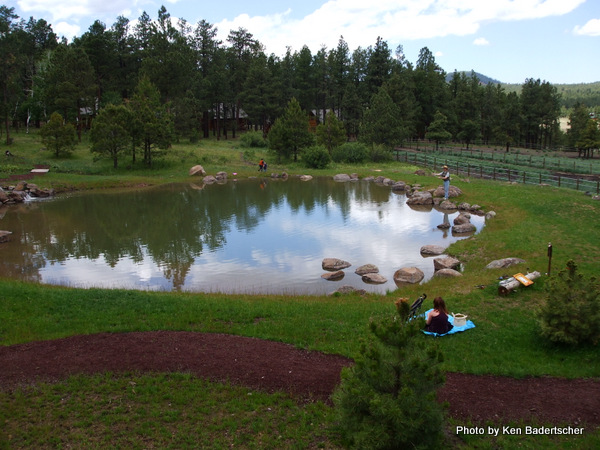 Catching the sky in a trout pond, Hidden Meadow Ranch