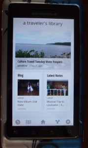 A Traveler's Library home page on Currents