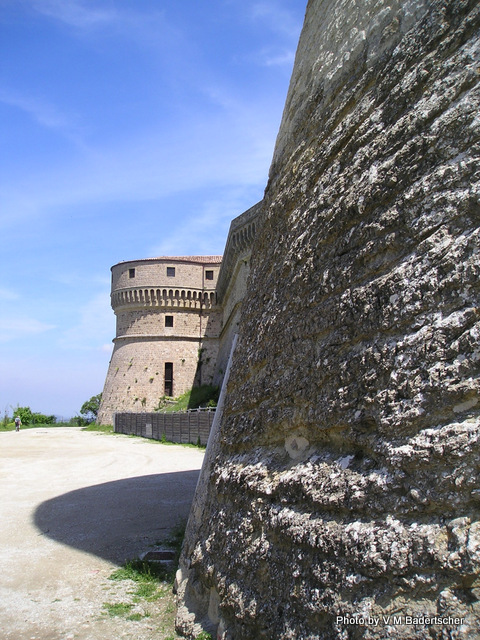 The wall and a tower of San Leo