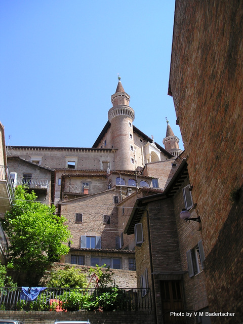 Urbino Castle surrounded by more modern buildings