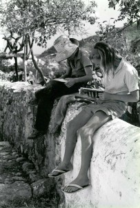 Peter and Flora studying out of doors in Ibiza