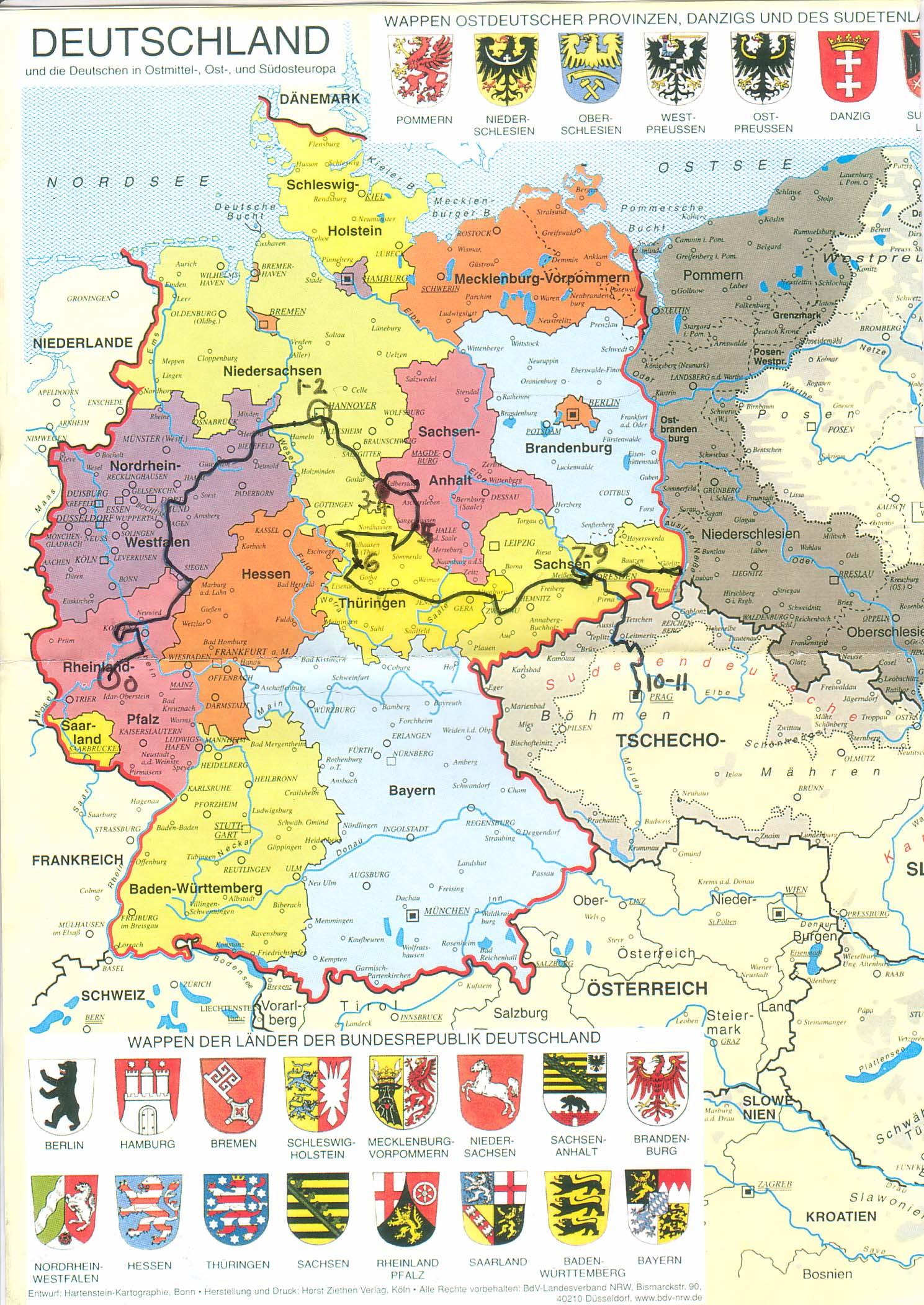 Martin Davies Map Of German Trip A Travelers Library - Germany map lands