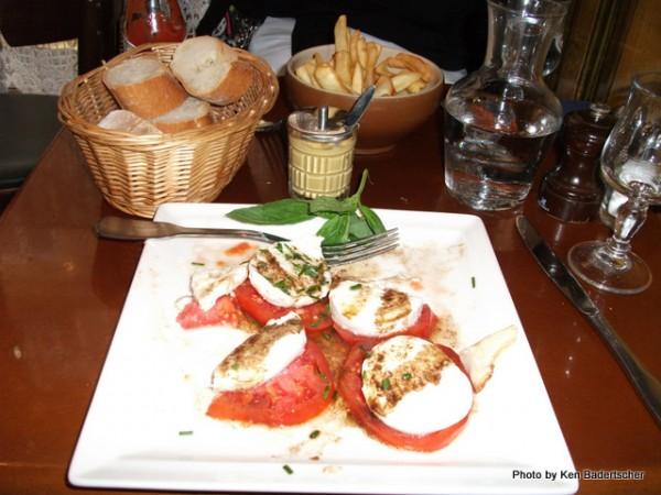 Caprese Salad and Frites at Bistro Mazarin
