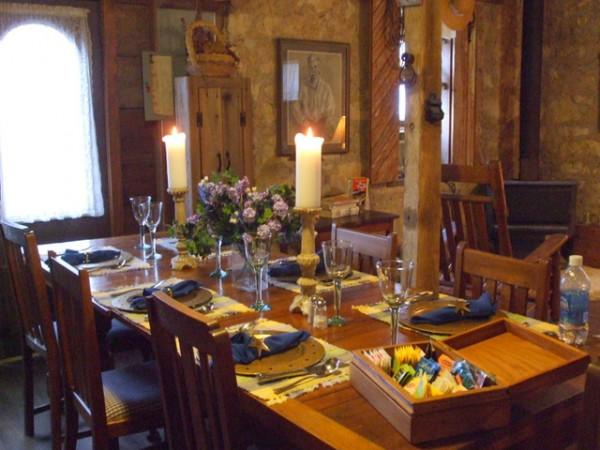 Breakfast table in the stone barn, Airy Mount B & B, Burnet TX