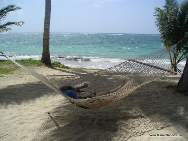 Hammock on the beach, St. Lucia