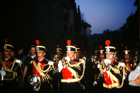 Band with the Easter procession in Granada Spain