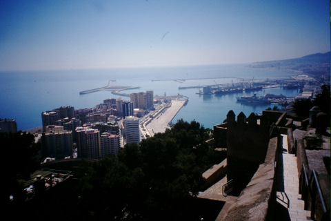 Malaga port from the fortress hill