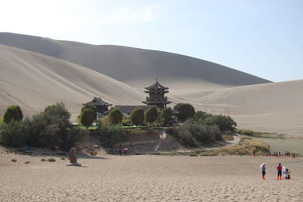 Gobi desert oasis on the Silk Road