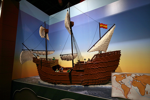 Magellan's ship in Legos, map of the Magellan/Elcano voyage.