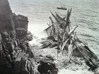 Sailing ship wrecked