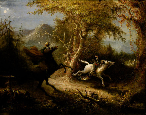 The Headless Horseman Pursuing Ichabod Crane, Painting by John Quidor, 1858, Smithsonian Museum of American Art. From Google Art Project.