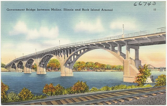 Postcard of Moline bridge from time of Flyover Lives Memoir