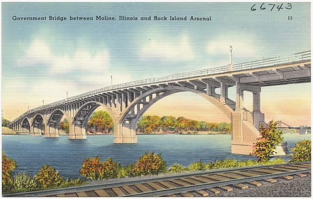 Postcard of Moline bridge from time of Flyover Lives Memoir
