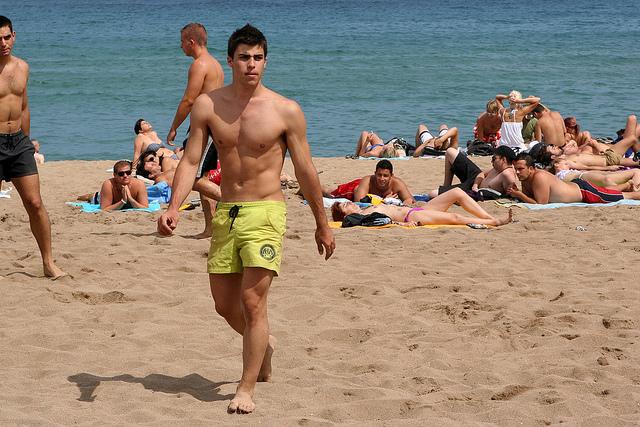 On the Barcelona Beach in summer.